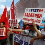 Pro-China protesters demonstrate outside the Legislative Council in Hong Kong