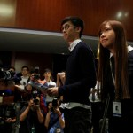 Pro-independence legislator-elects Yau and Baggio Leung meet reporters in Hong Kong