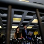 Democratically-elected legislators Yau Wai-Ching and Baggio Leung speak to media after a High Court disqualified them from taking office in Hong Kong, China