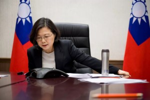Taiwan's President Tsai Ing-wen speaks on the phone with U.S. president-elect Donald Trump at her office in Taipei, Taiwan, December 3, 2016. Taiwan Presidential Office/Handout via REUTERS