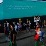 Children leave school in Namtit, Wa territory in northeast Myanmar