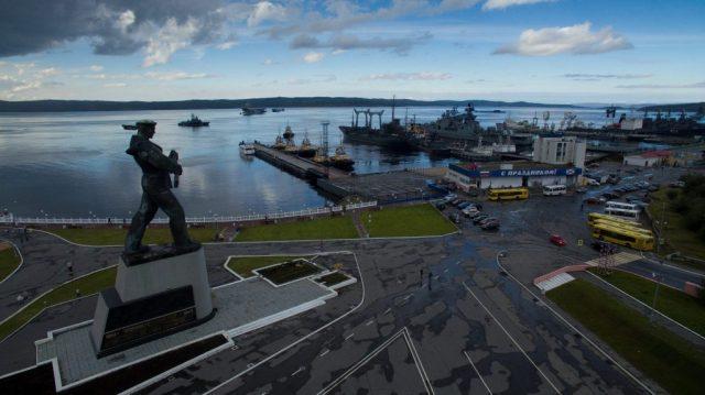 Northern Fleet's Arctic headquarters of Severomorsk, Russia