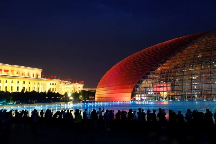 Grand National Theatre is illuminated ahead of the Belt and Road Forum in Beijing