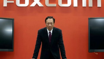 Terry Gou, founder and chairman of Foxconn reacts during an interview with Reuters in New Taipei City, Taiwan