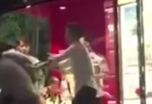 drunk man beats a policewoman