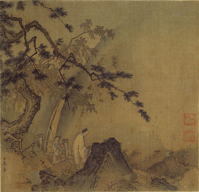 Ma Yuan - Scholar by a Waterfall