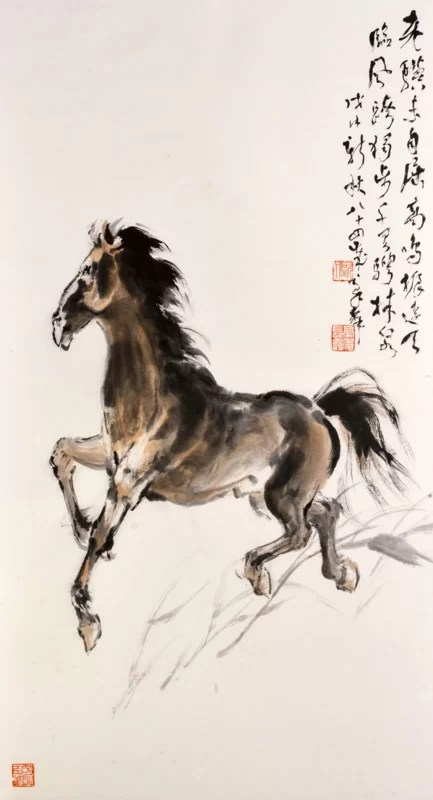 Old Steed , 2018, by Au Ho-‐nien (Chinese, b. 1935). Ink and colors on paper. Collection of Yicui Shantang. © Au Ho-‐nien.