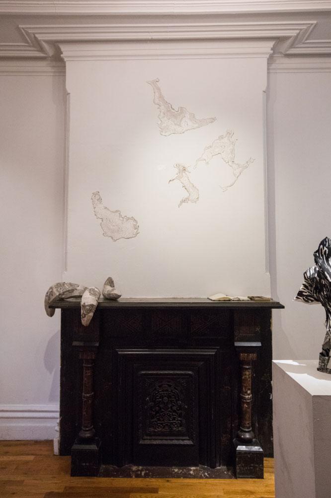 Installation view of Jisook Kim & Hilda Shen: Orogenies, photograph by Nadia Peichao Lin ©Hilda Shen and Jisook Kim, courtesy Fou Gallery