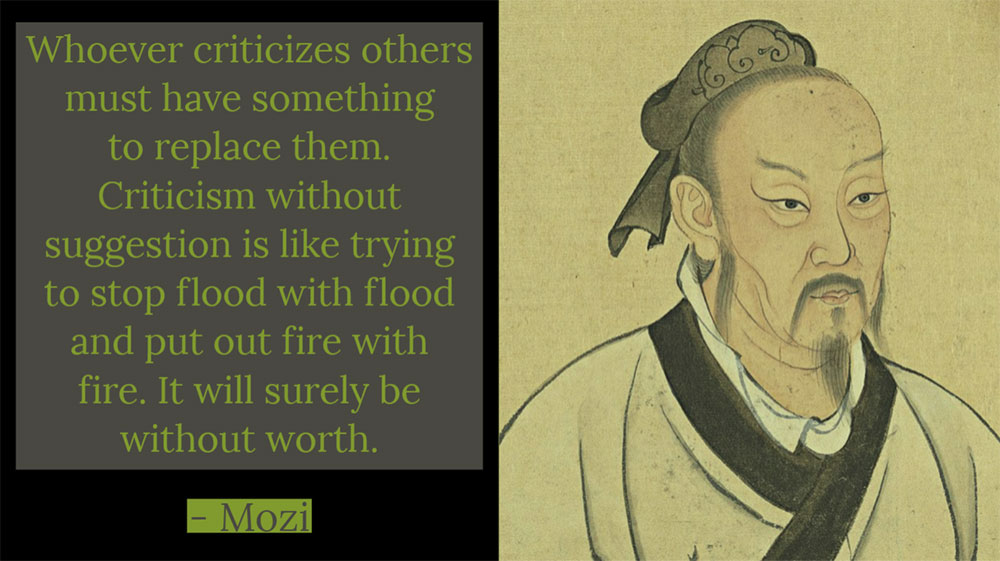 Whoever criticizes others must have something to replace them