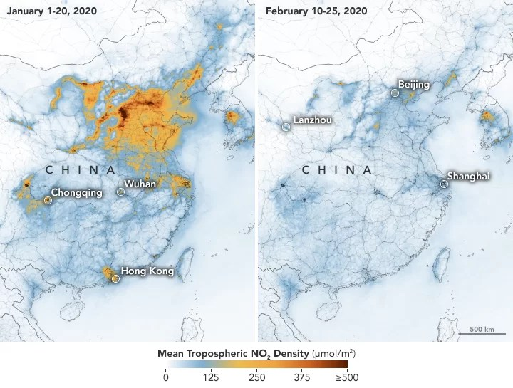Poluttion Levels Plummets Over China