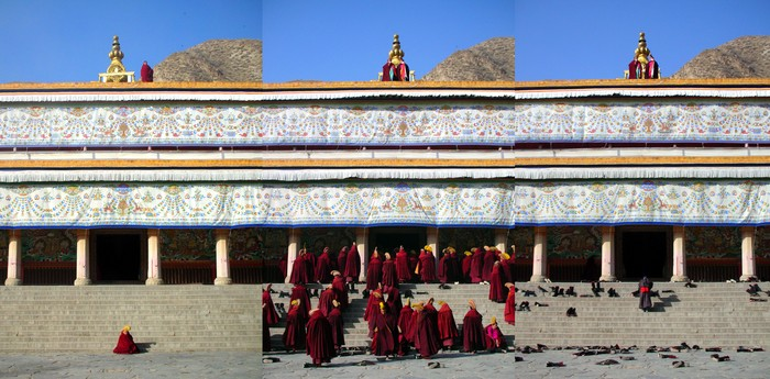 Three photos taken in the courtyard of Labrang's main temple showing 1) two lone monks beginning prayer chants, 2) many monks standing up and entering the temple in response to the blowing of conch shells from above, and 3) the pile of boots left outside when the monks had entered the temple.