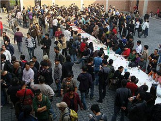 "600+ attended Ai Weiwei's ""River Crab"" Feast in Shanghai in November, 2011, to protest the demolition  of his studio by the government."