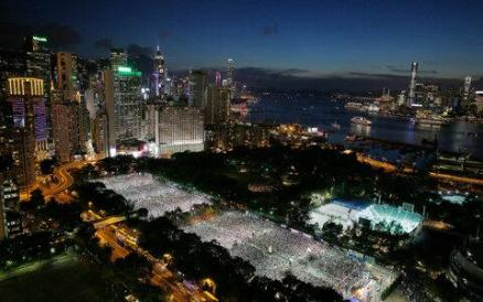 June 4th Vigil in Victoria Park, Hong Kong.