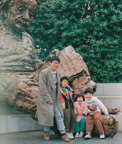 Dr. Wang Bingzhang and his three children in the 1990s.