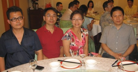 From left to right: Guo Feixiong, Yang Zili, Xiao Guozhen, and Xu Zhiyong in the summer of 2012 in a dinner gathering in Beijing.
