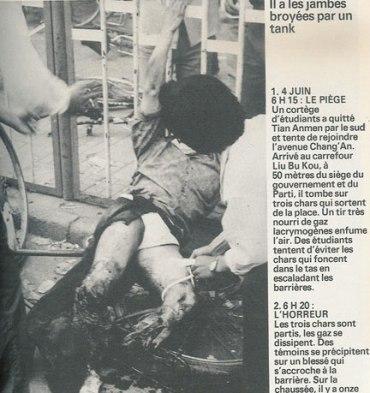 """""""Le massacre du printemps. Collectif, Chine, le roman d'une revolution inachevee, Document Observateur, No. 7, Edition Hachette, Octobre 1989, p.116."""""""