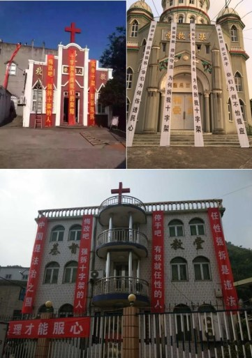 Churches put up banners to protest cross removal.