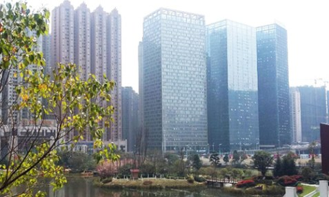 The three blue glass buildings compose the Guiyang International Centre. Living Stone's church is located on the 24th floor of the rightmost building. Photo: online.