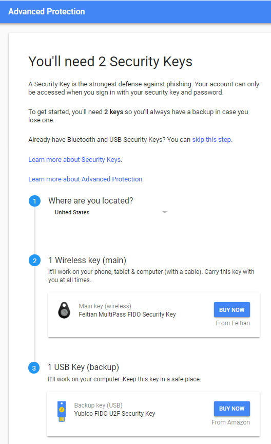 Google recommends security keys