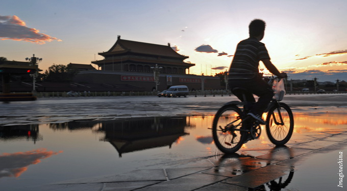 dawn cycling tiananment square