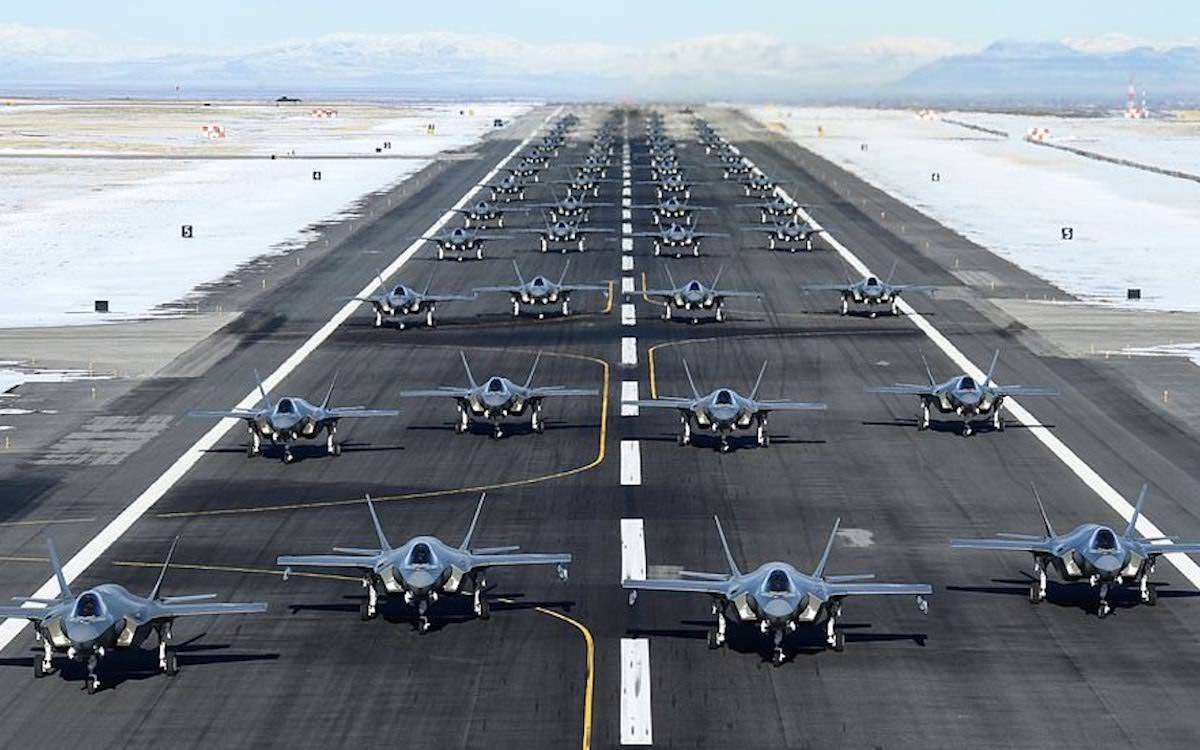 The photo shows a runway at Hill Air Force Base in Utah packed with Lockheed Martin F-35A fighter jets.Photo: US Air Force. Rare-earth minerals are used in the production of one of the world's most advanced fighter jets.