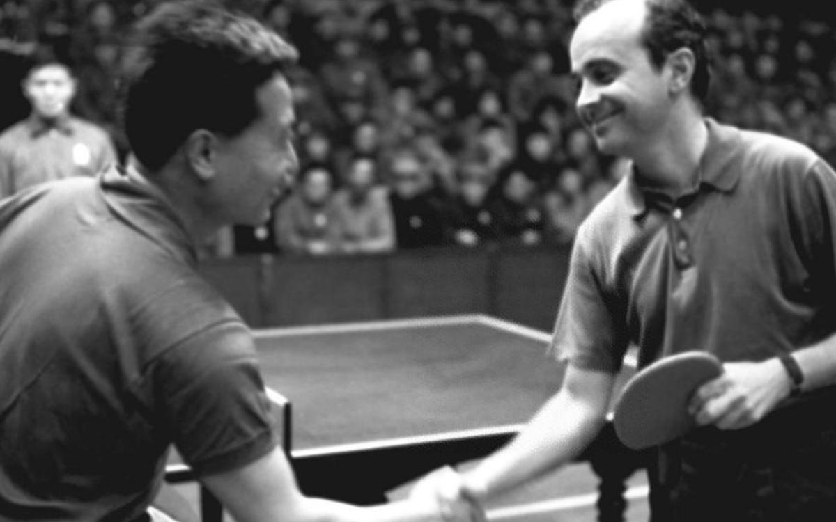 The black and white image shows Chinese and American table tennis players shaking hands. 'Ping-pong' diplomacy set the stage for then President Richard Nixon's visit to China in 1972.