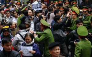 Police-disperse-a-demonstration against a draft law on the-Special-Economic-Zone
