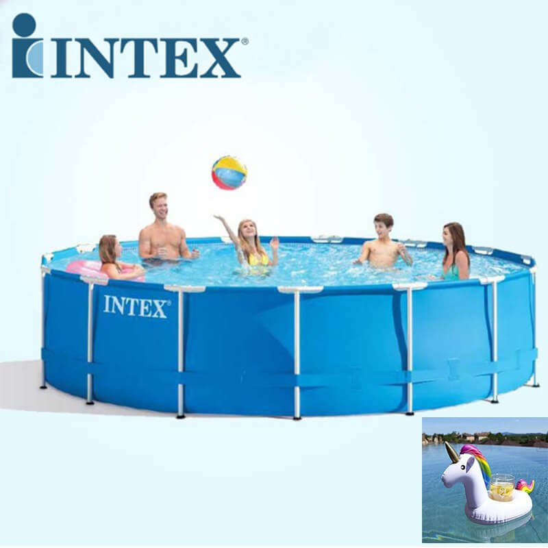 Large intext above ground pool with two free floating toys