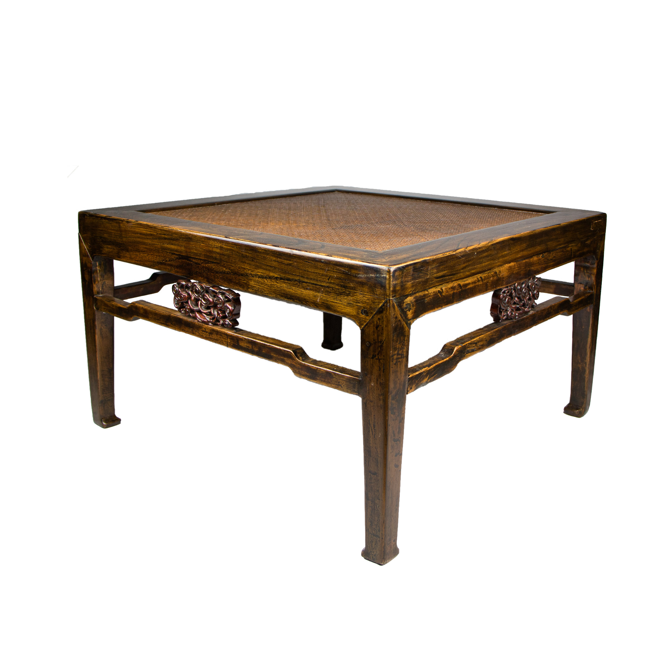 low square table with woven top