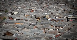 A photo of the rooftops in Lijiang.