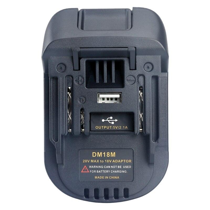 20 в до 18 В батарея преобразования Dm18M литий-ионный Зарядное устройство инструмент адаптер для Milwaukee Makita Bl1830 Bl1850 батареи