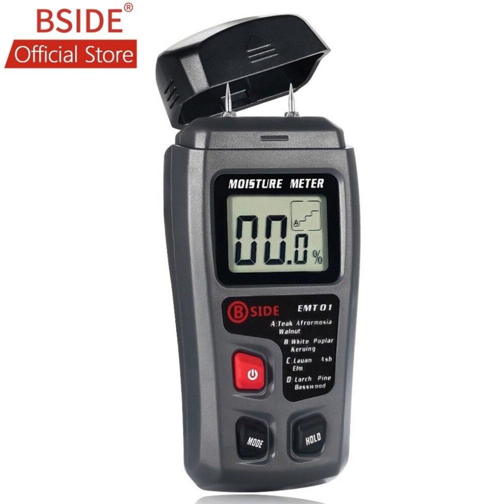BSIDE EMT01 цифровой измеритель влажности древесины с двумя контактами 0-99.9%, измеритель влажности древесины, детектор влажности древесины с бол...