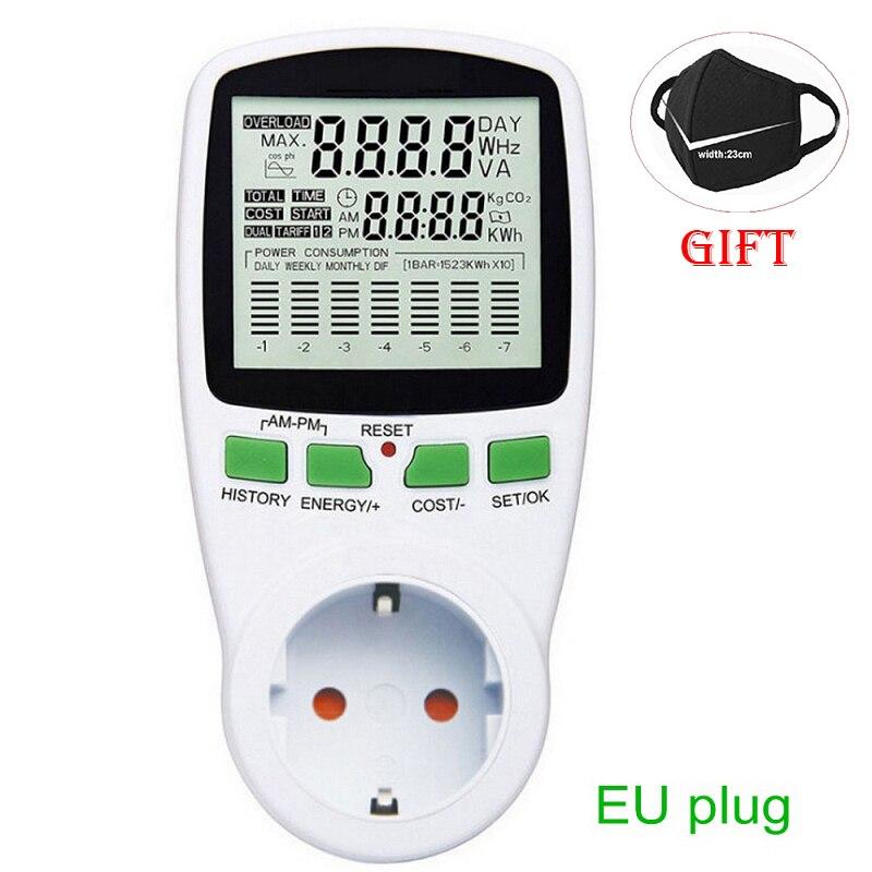 Цифровой ЖК-счетчик энергии ваттметр мощность электроэнергии кВт-ч измеритель мощности ЕС французский США Великобритания AU измерительный ...