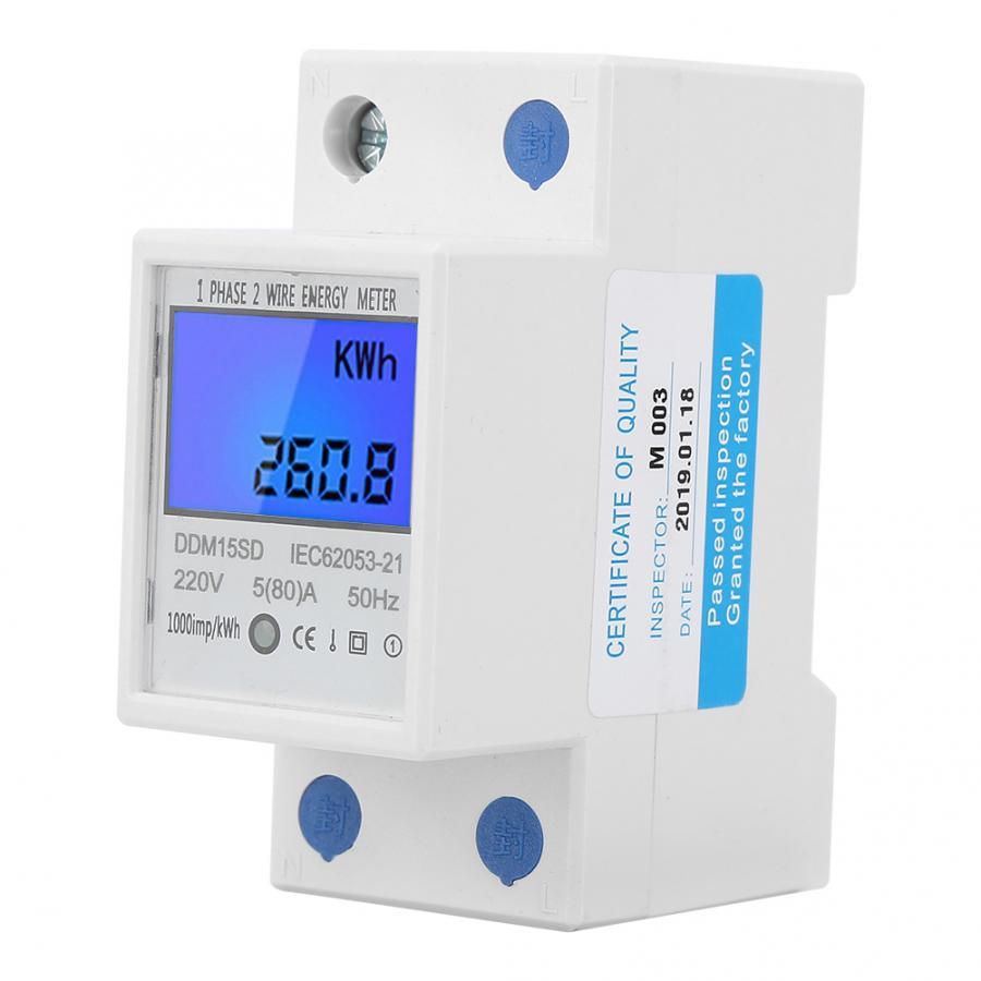 Счетчик энергии Din-rail, 1-10 шт., 5-80A DDM15SD ЖК-дисплей с подсветкой, цифровой дисплей, однофазный электронный счетчик энергии кВт/ч
