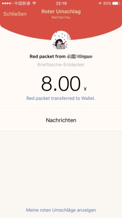Amount of money transfered through Red Packet
