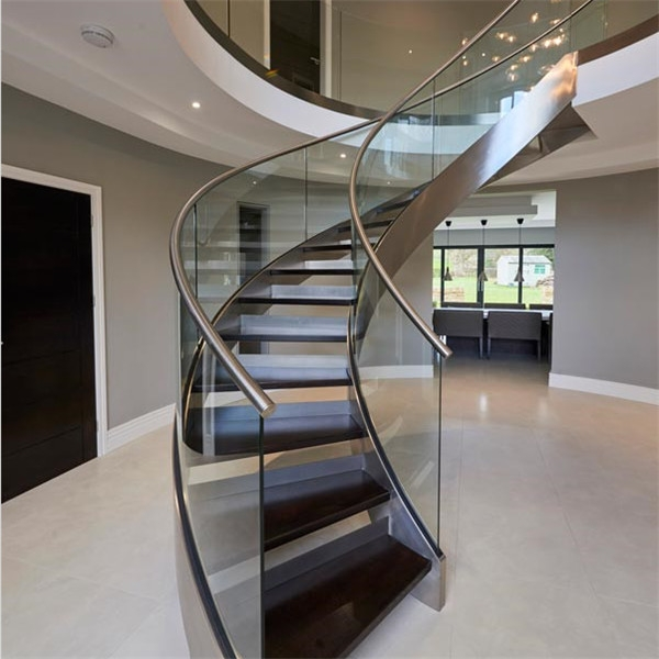Bent Stainless Steel Handrail Used For Indoor Curved Staircase | Stainless Steel Handrail With Glass | Balustrade | Steel Railing | Price | Aged Polished Steel | Wood