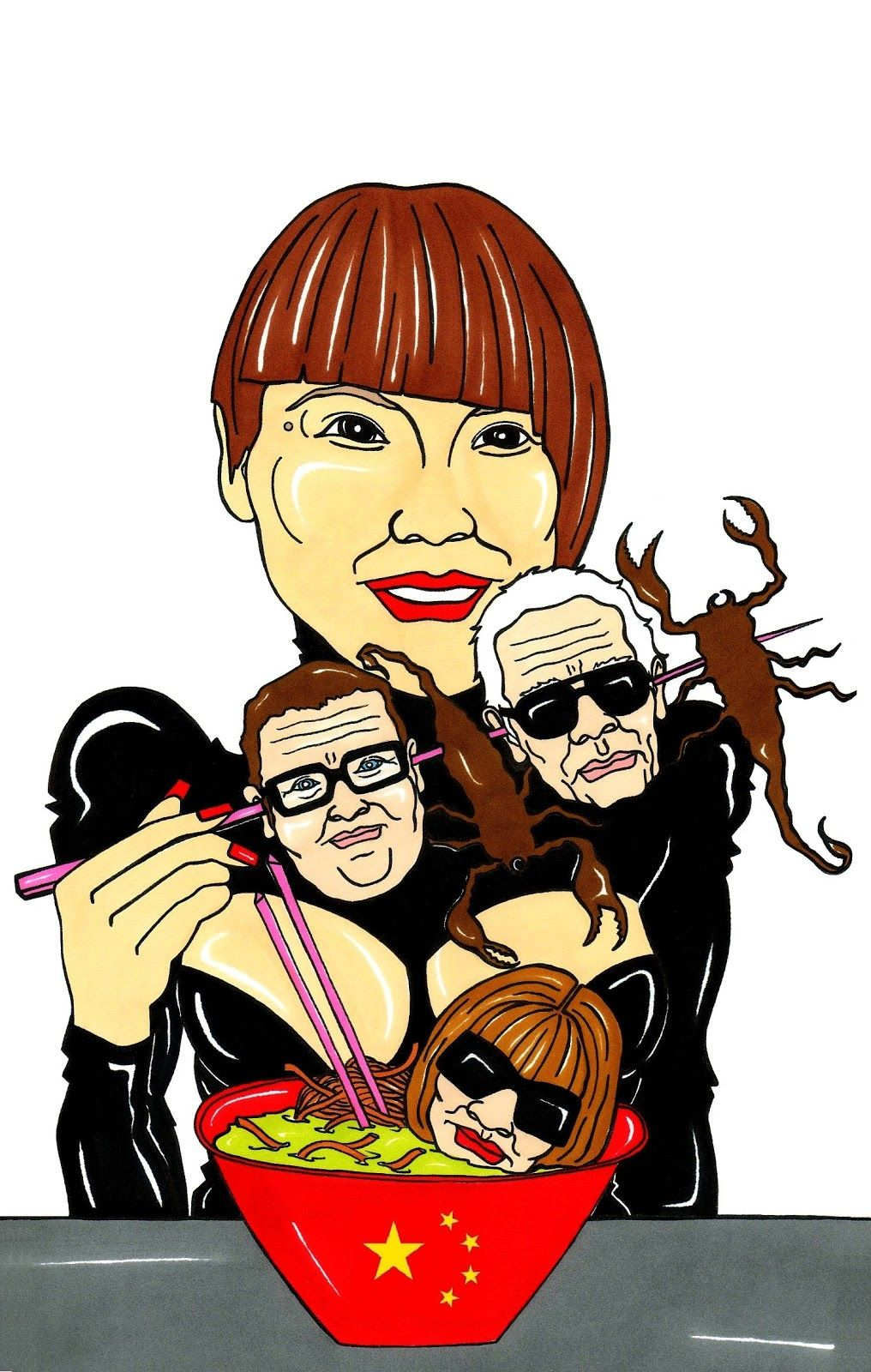 Vogue China's Angelica Cheung. Anna Wintour, Karl Lagerfeld and Alber Elbaz, a delicious chinese lunch! #ilustration