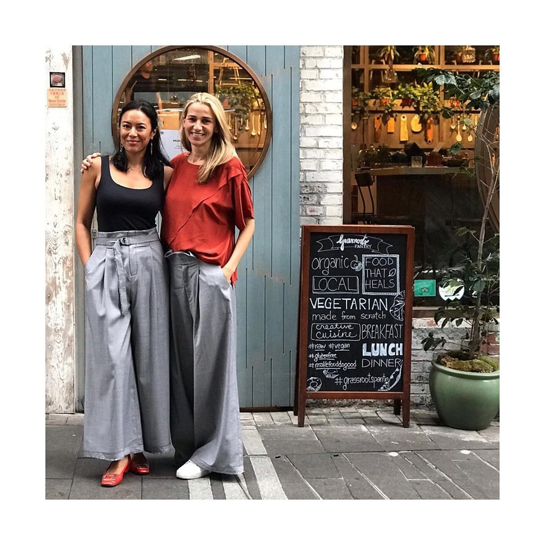 A pair of Christinas wearing the Bermondsey Pants by The R Collective x Wen Pan