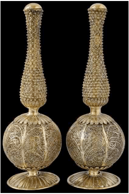 18th century pair rosewater sprinklers