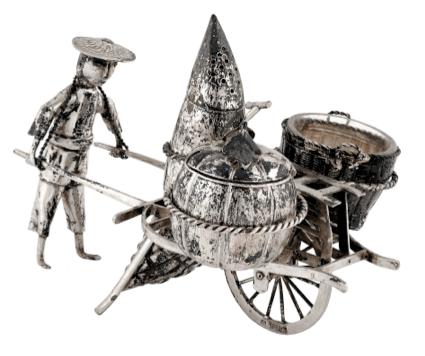 Chinese Export Silver 1900 C.J.Co. Novelty Cruet Set