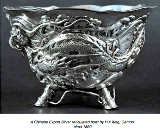 Chinese Export Silver bowl by Hui Xing 1860