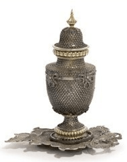 Chinese Export Silver 18th century lidded filigree urn
