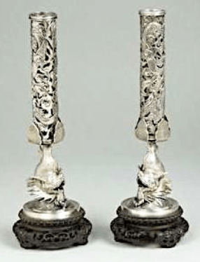 #ChineseExportSilver Chinese Export Silver Chang Kong pair spill vases