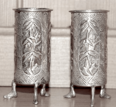 #ChineseExportSilver Pair Chinese Export Silver Wang Hing spill vases