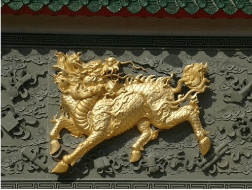 #ChineseExportSilver Carved Golden Qilin