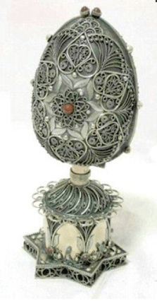 Russian Silver Filigree Judaica Spice Box