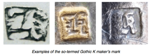 Chinese Export Silver marks for Gothic K