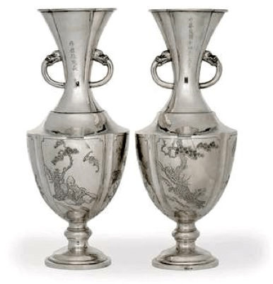 Sincere Company Chinese Export Silver Vases 1925