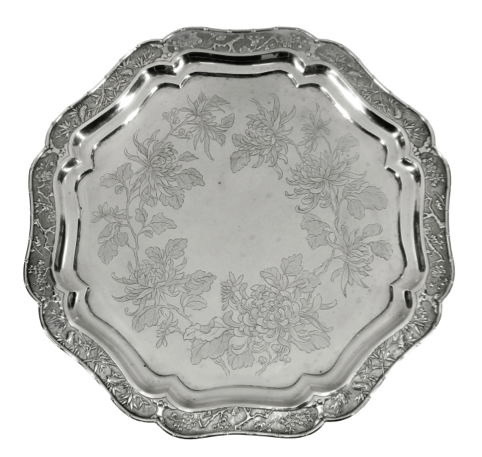 Chinese Export Silver Salver by KC