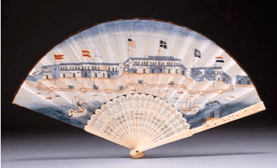 "18th century Canton ivory and painted silk fan, circa 1790, with view of the ""Foreign Factories"", Canton"